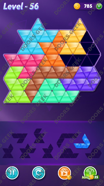 Block! Triangle Puzzle Proficient Level 56 Solution, Cheats, Walkthrough for Android, iPhone, iPad and iPod