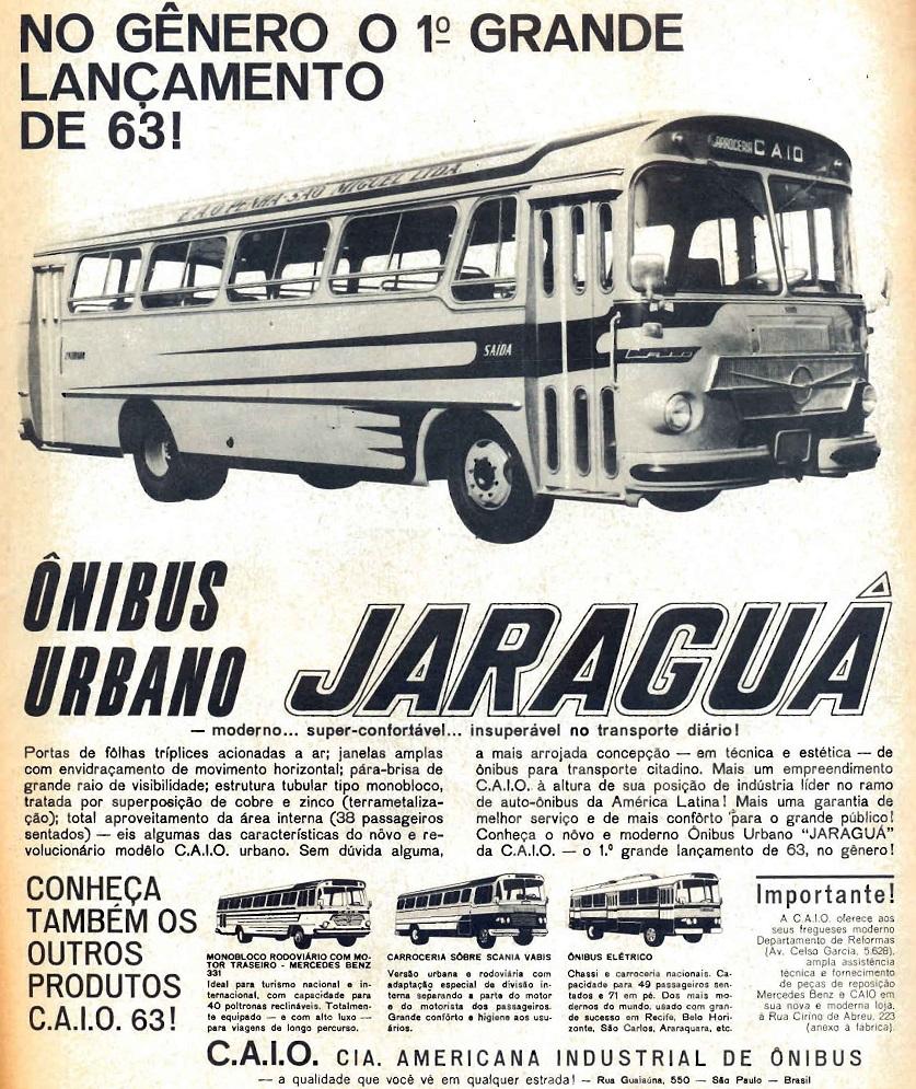 Propaganda antiga do ônibus Jaraguá da Caio veiculada em 1963