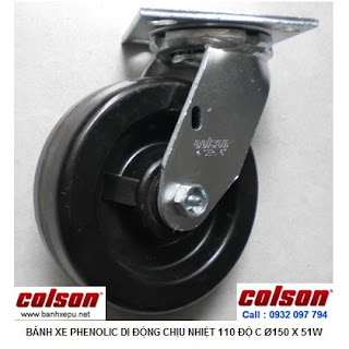 Bánh xe Phenolic chịu nhiệt càng xoay 150mm Colson Mỹ| 4-6109-339 www.banhxepu.net