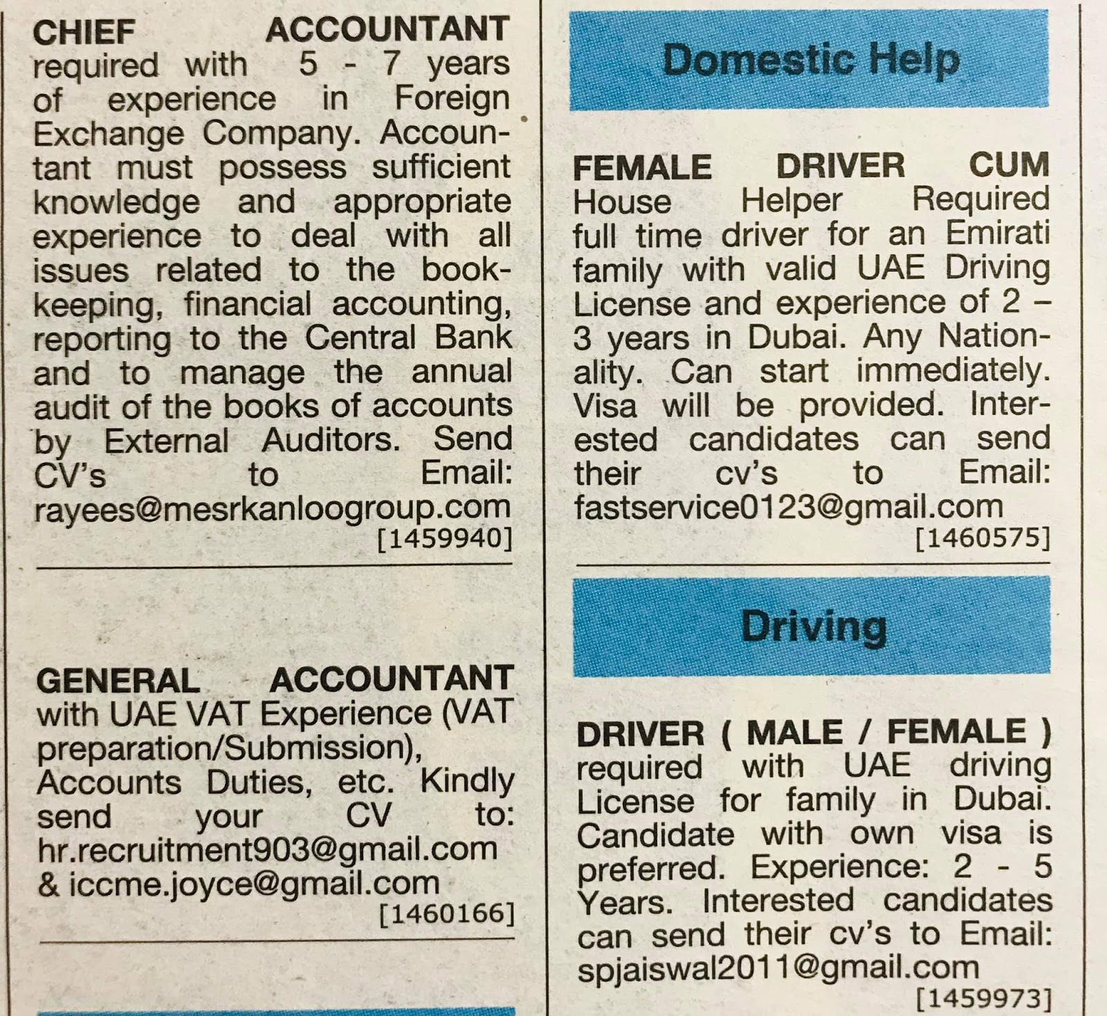 Required Chief Accountant, General Accountant, Male & Femele Drivers