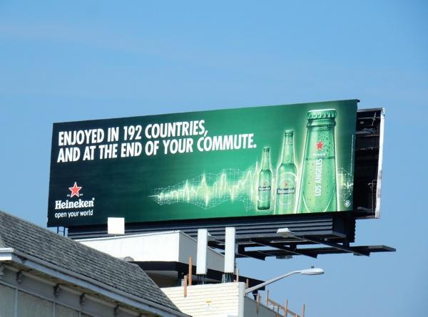 Heineken Enjoyed at end of your commute billboard
