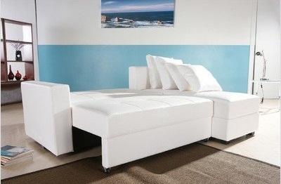 Haram Furniture San Jose Leatherette Convertible Sectional Storage Sleeper Sofa in White