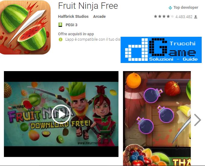 Trucchi Fruit Ninja Free Mod Apk Android v2.3.8