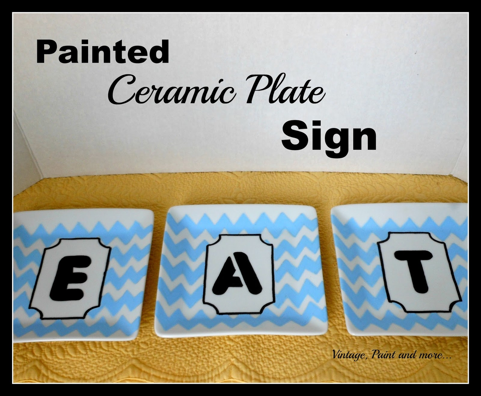 Vintage, Paint and more... DIY kitchen sign made with ceramic plates and stenciling