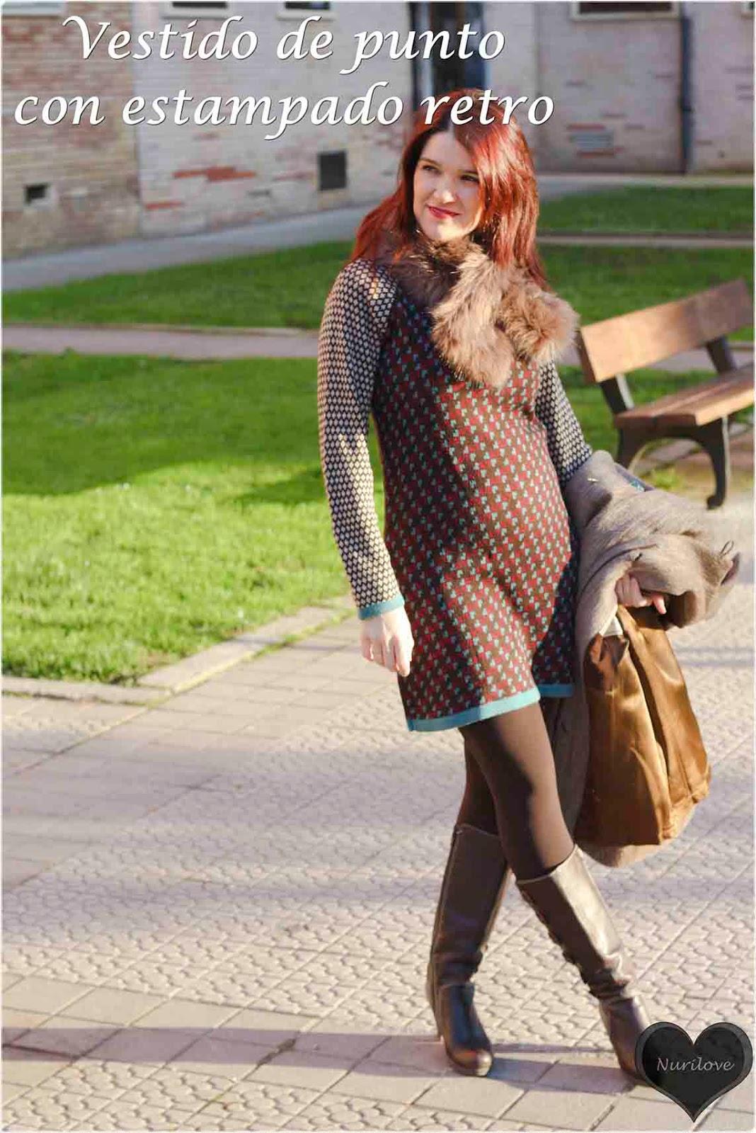 Vestido de punto con estampado retro