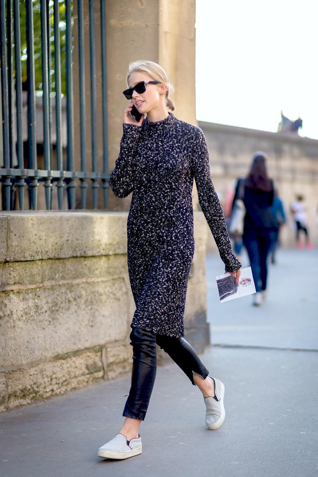 2 Ways to Wear a Sweater Dress for Fall — Sasha Luss In Black Leather Pants and Slip-On Sneakers