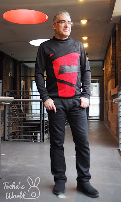 scuba, red, black, birthday, matchy-matchy, Abakhan, 70s, 80s, Kraftwerk, Gary Numan, top, dress, raglan sleeve, pattern cutting, Glasgow