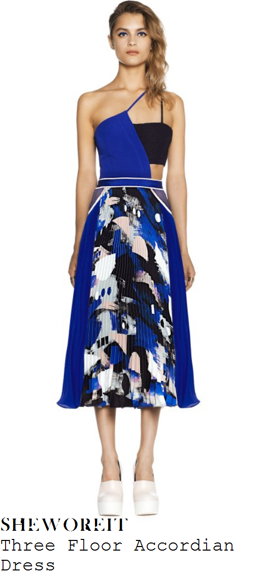 ashley-roberts-cobalt-blue-printed-pleated-midi-dress-declan-donnelly-wedding