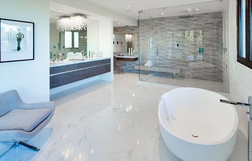 Modern white bathroom interior
