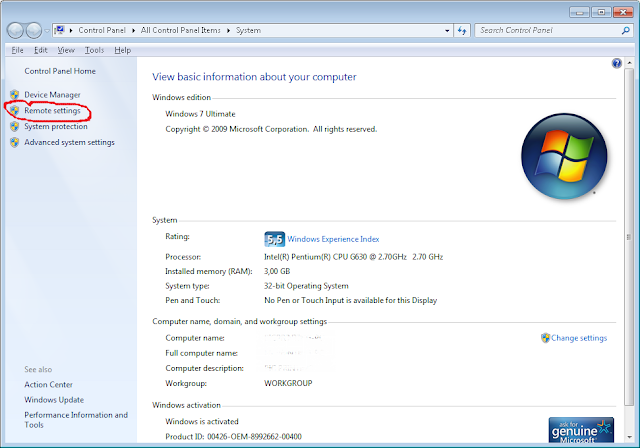Setting Remote Desktop Connection Windows 7