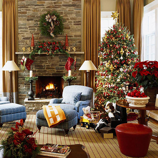 a cozy cabin style christmas with earthy reds greens and gold - Cabin Style Christmas Decorations