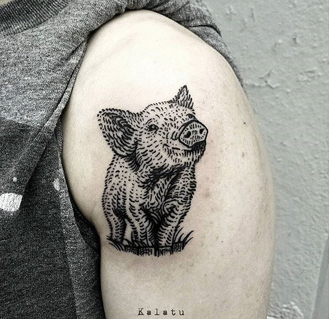 pig sleeve tattoo