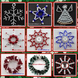 Joulukoristeet lasihelmistä - helmikauppa netissä - korutarvikkeet ja askartelutarvikkeet
