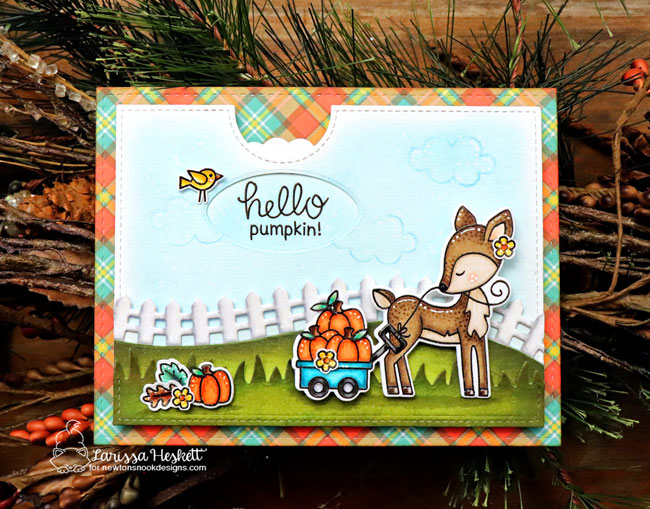Fall woodland deer card by Larissa Heskett | Harvest Tails Stamp Set by Newton's Nook Designs #netwonsnook #handmade