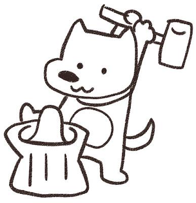 餅つきをする犬のイラスト(戌年)白黒線画