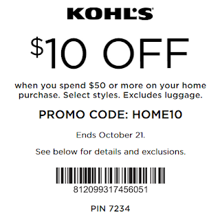 Kohls coupon $10 OFF $50 Home item purchase