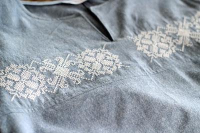 McCall's 7600  using chambray and a machine embroidery design from Etsy