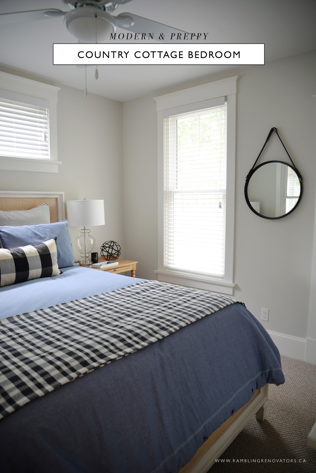 modern preppy country cottage bedroom | Ramblingrenovators.ca