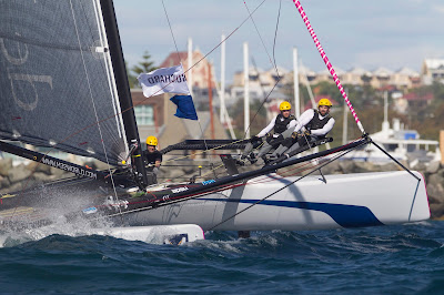 Yann Guichard et Spindrift, 3e des World Match Racing Tour à Fremantle.
