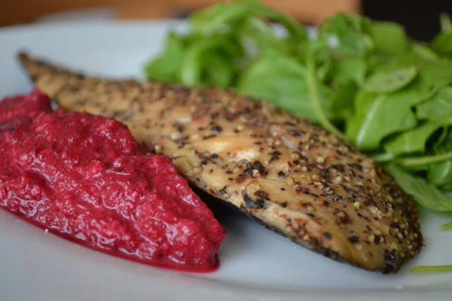 mackerel with beetroot and horseradish relish