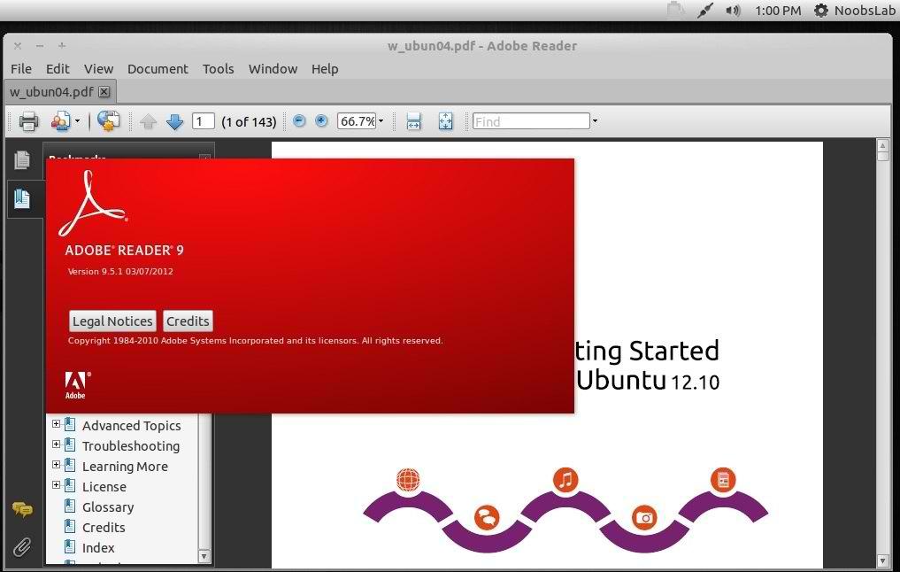 Install Adobe Acrobat Reader in Ubuntu 12 10/12 04/Linux