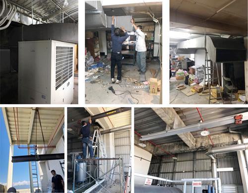 豐隆鐵工廠施作經驗豐富,有將熱泵主機冷空氣導入樓梯間再利用的風管安裝施工。以及爲了讓1噸多的設備橫跨過60公分的障礙物,現場製作H型鋼滑軌搭配滑車吊運設備。