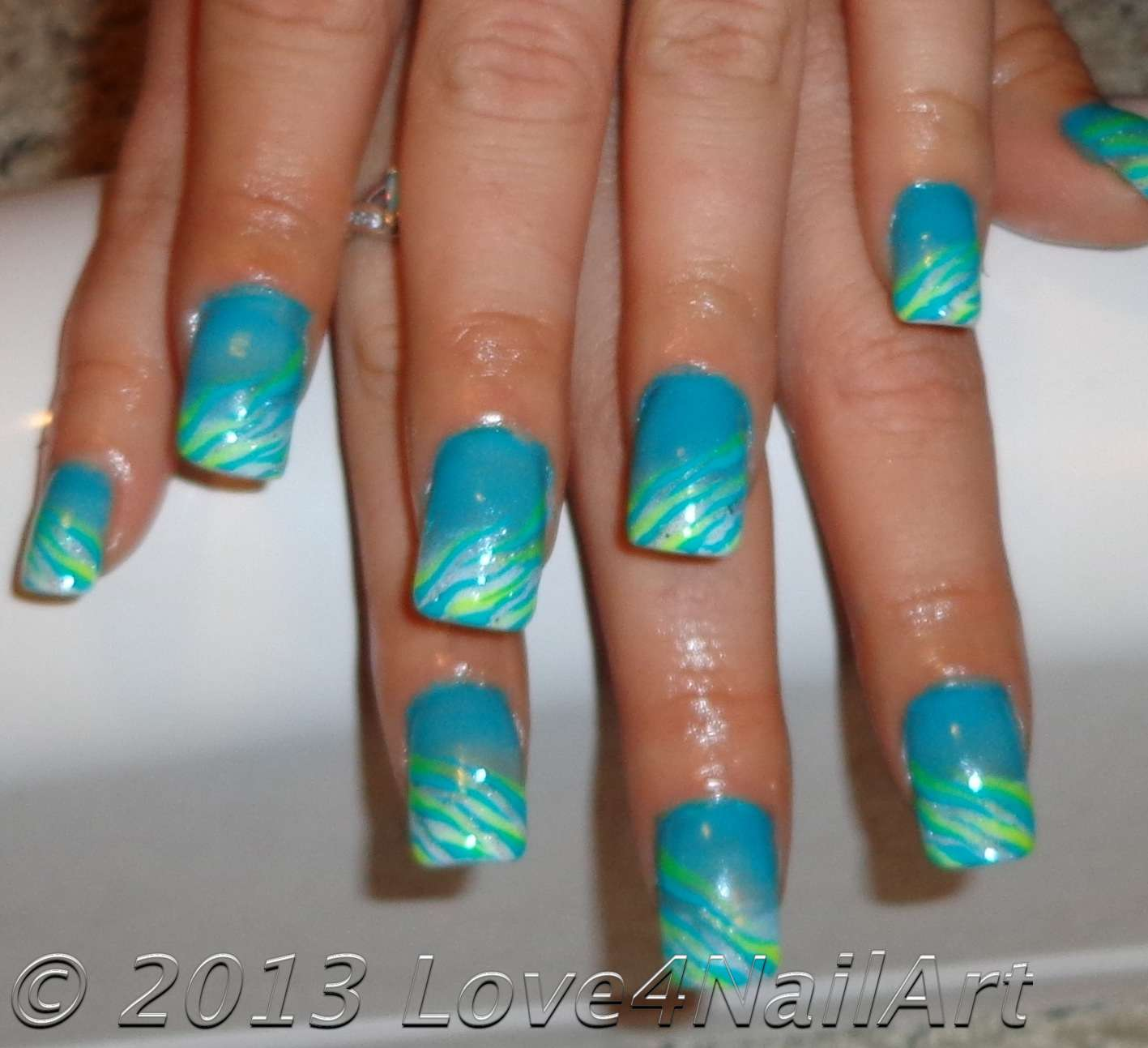 Love4NailArt: Turquoise Gradient Zebra Nails (Glow In The ...