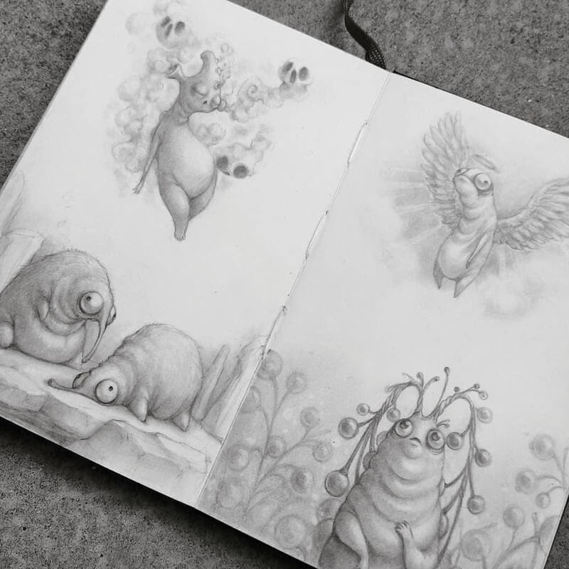 06-Stella-Bialek-Moleskine-Fantasy-Creatures-Drawings-www-designstack-co