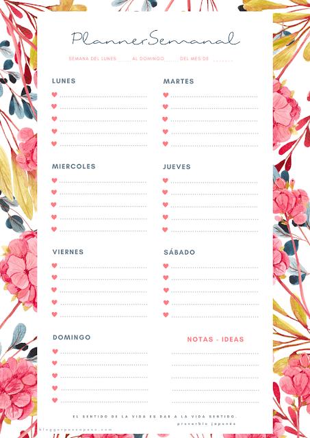 Planner bonitos para descargar e imprimir y organizar tu semana