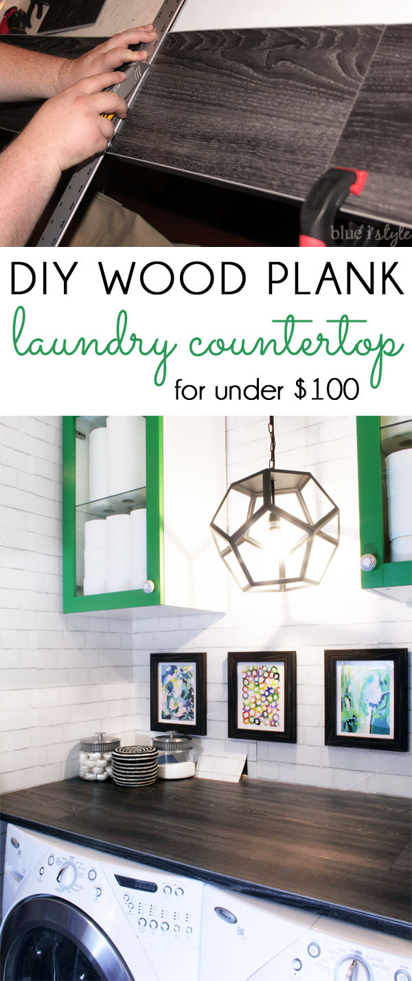 Diy With Style Diy Wood Plank Laundry Room Countertop