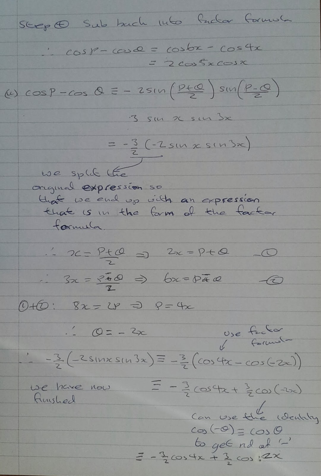 A Level Maths Notes: A2 Trigonometry II: Factor Formula