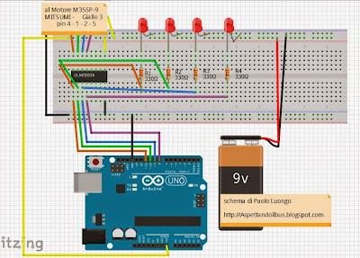 Schema di montaggio Arduino & M35SP-9 MITSUMI di Paolo Luongo