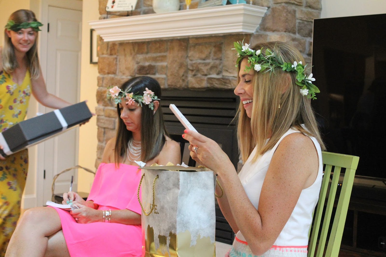 back in july we threw my sister a greek themed bridal shower they are going to greece on their honeymoon all the guests wore handmade flower crowns
