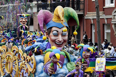 Mardi Gras Parade with Huge Clown-Like Float