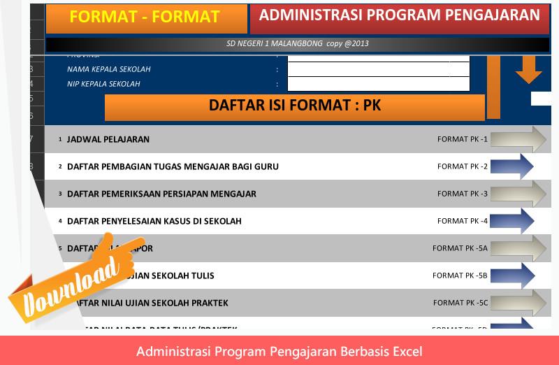 Administrasi Guru untuk Pendukung KBM Format Excel