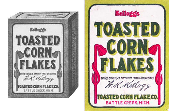 Kellogg's Toasted Corn Flakes, first package 1907