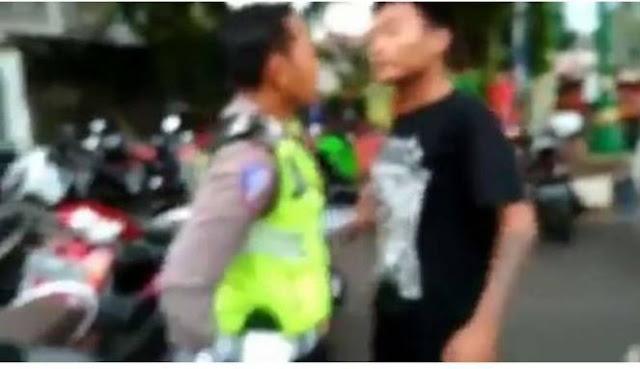 Lagi Viral, Pelanggar Lalu Lintas Menantang Polisi