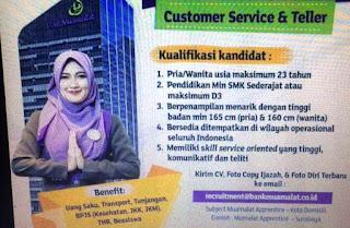 Rekrutmen Karyawan Bank Muamalat 2017