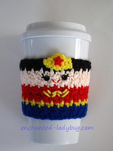 Free Crochet Wonder Woman Coffee Cup Cozy Pattern