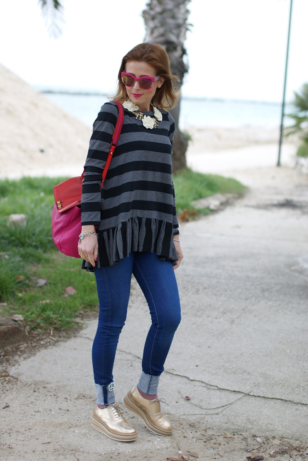Rose a Pois top, Lorenzo Mari shoes on Fashion and Cookies fashion blog, fashion blogger style