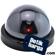 Eigia CCTV Dummy Lampu LED Kedip Fake Security Camera Anti Maling CCTV Palsu Replika Mirip Asli Kamera Keamanan Dalam Ruangan Bentuk Dome - Hitam