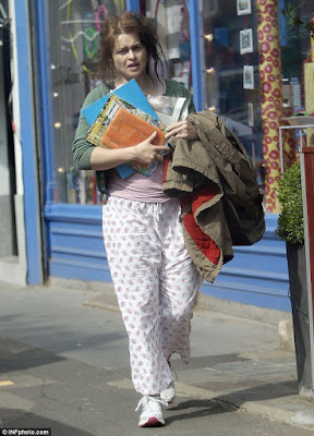 image result for Helena Bonham Carter woman in pajamas shopping