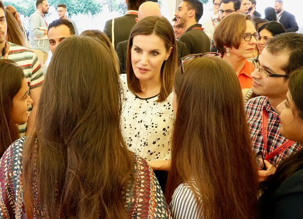 Queen Letizia wore Carolina Herrera floral print silk blouse for Girona Foundation's meeting at Malavella Hotel Camira in Girona