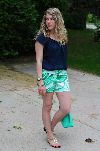 navy silk blouse, palm print shorts, gold rope sandals, mint kate spade bag