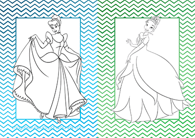 Imprimir y colorear princesas disney cenicienta y tiana