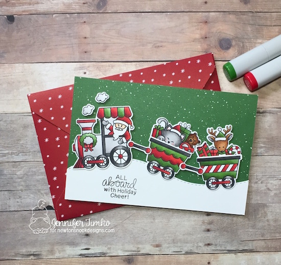 Christmas Train Card by Jennifer Timko | All Aboard for Christmas Stamp Set by Newton's Nook Designs #newtonsnook #handmade