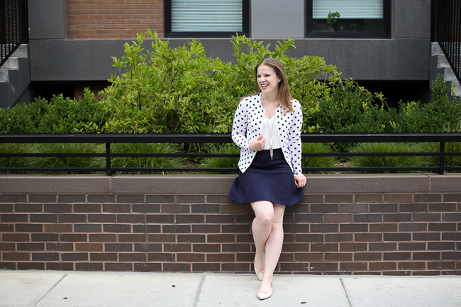 The Polka Dot Cardigan | Something Good, Navy Flare Skirt