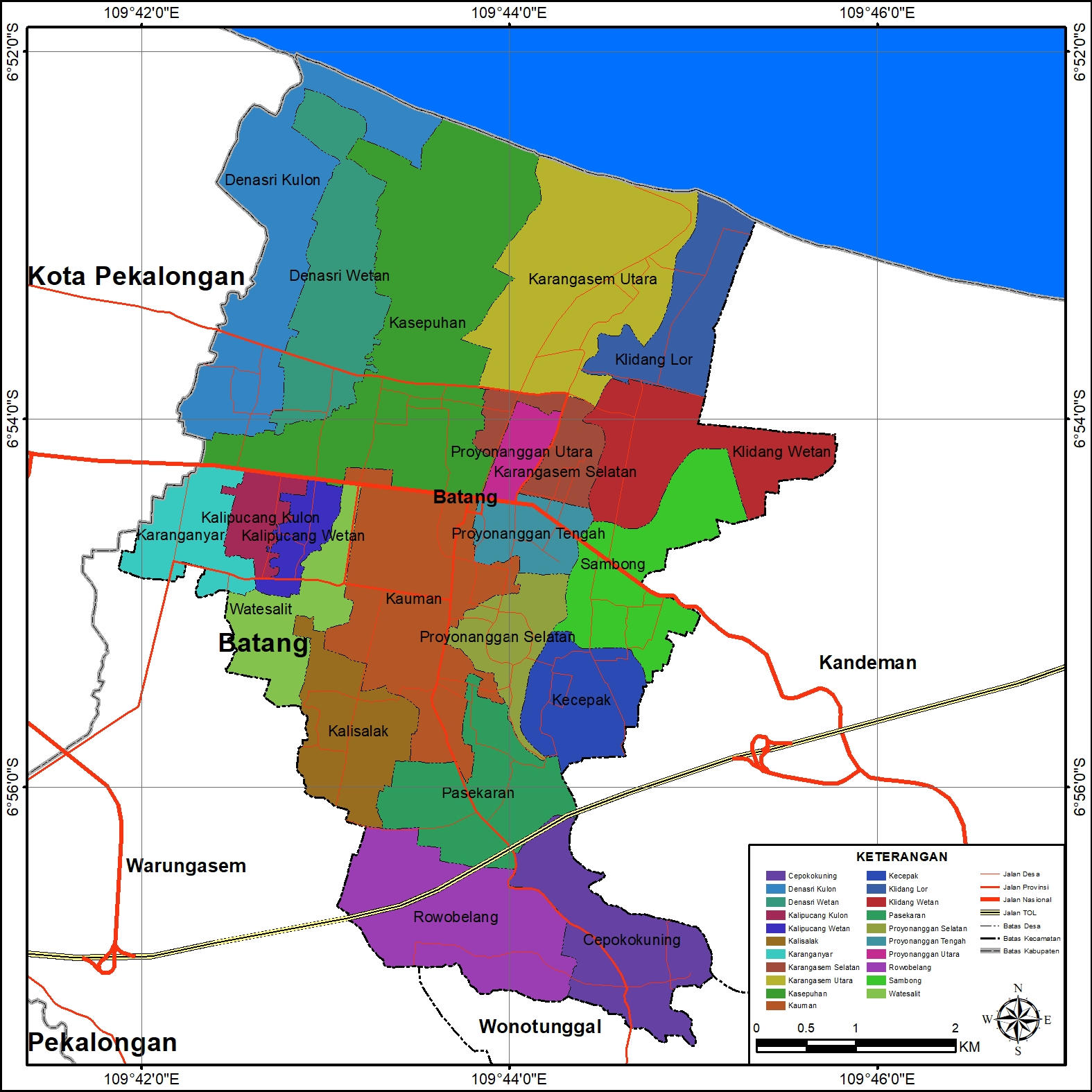 Peta Administrasi Kecamatan Batang, Kabupaten Batang ...