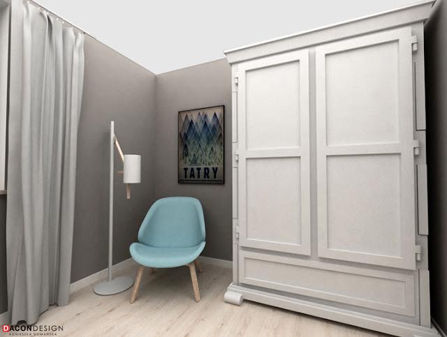 Dacon-Design-architekt-sypialnia-tikkurila-duett-szafa-fotel-lampa-plakat-Tatry-niebieski-tapeta
