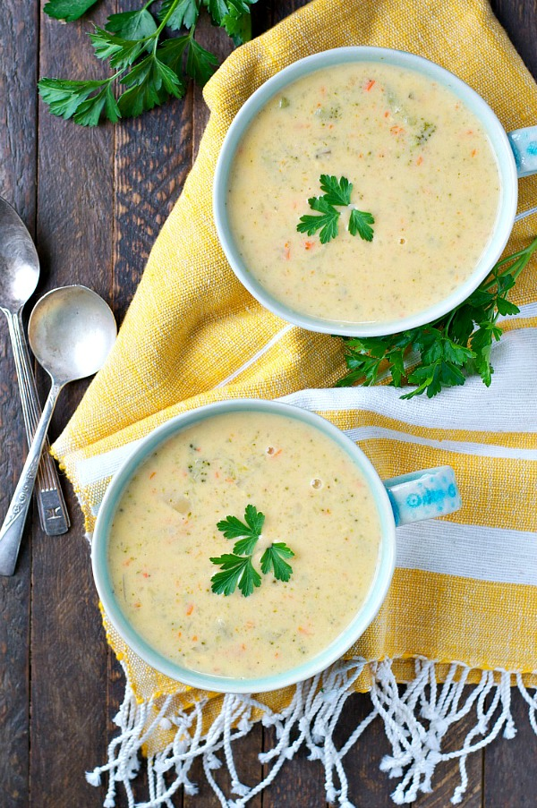 Slow Cooker Ham and Cheddar Soup from The Seasoned Mom